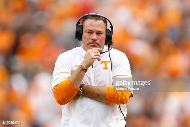Head coach Butch Jones of the Tennessee Volunteers looks on during the second half of the game against the Indiana State Sycamores at Neyland Stadium...