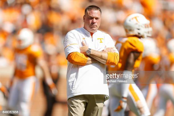 Head coach Butch Jones of the Tennessee Volunteers looks on prior to the game against the Indiana State Sycamores at Neyland Stadium on September 9...