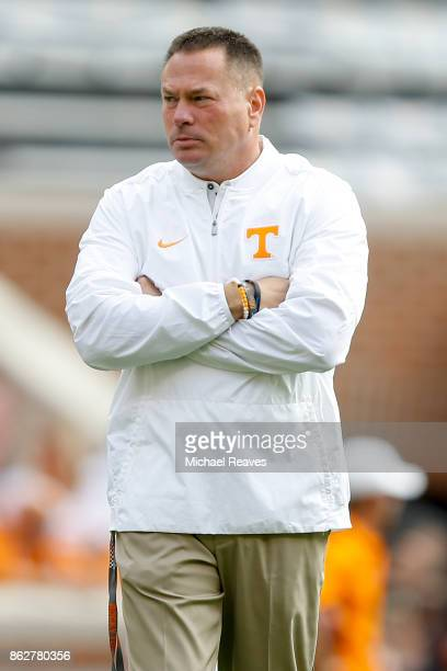 Head coach Butch Jones of the Tennessee Volunteers looks on prior to the game against the South Carolina Gamecocks at Neyland Stadium on October 14...