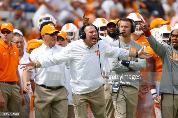 Head coach Butch Jones of the Tennessee Volunteers reacts against the South Carolina Gamecocks during the first half at Neyland Stadium on October 14...