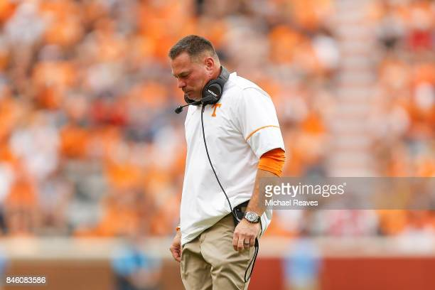 Head coach Butch Jones of the Tennessee Volunteers reacts during the game against the Indiana State Sycamores at Neyland Stadium on September 9 2017...