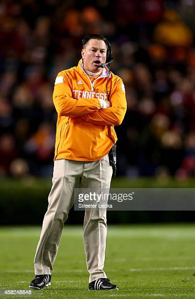 Head coach Butch Jones of the Tennessee Volunteers watches on fromthe sidelines against the South Carolina Gamecocks during their game at...
