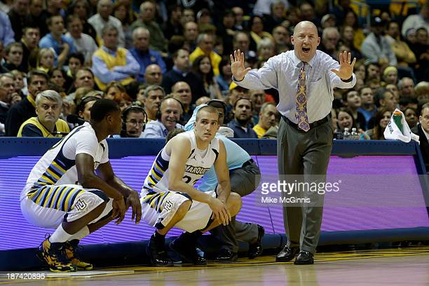 Head Coach Buzz Williams of the Marquette Golden Eagles yells from the sidelines during the first half of play against the Southern Jaguars against...