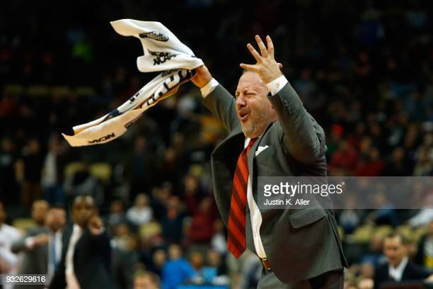 Head coach Buzz Williams of the Virginia Tech Hokies reacts to Justin Robinson foul on Collin Sexton of the Alabama Crimson Tide late in the second...