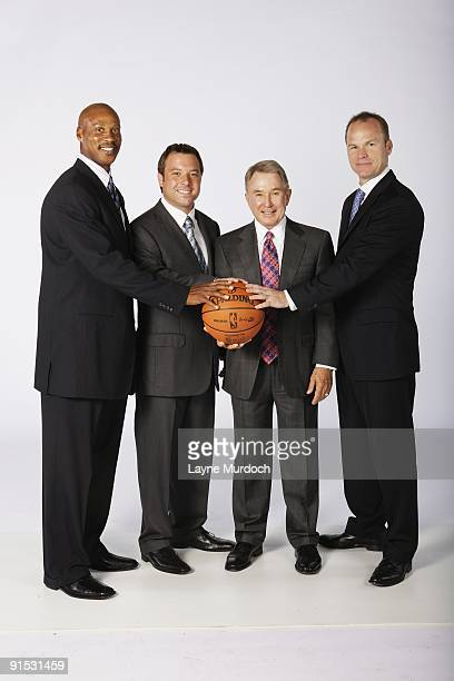 Head coach Byron Scott executive officer of the board Chad Shinn owner George Shinn and chief operations officer Hugh Weber of the New Orleans...
