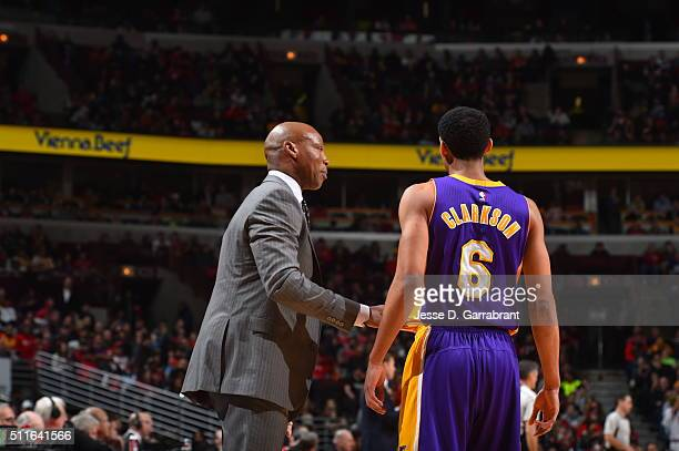 Head Coach Byron Scott of the Los Angeles Lakers gives direction to Jordan Clarkson against the Chicago Bulls on February 21 2016 at the United...