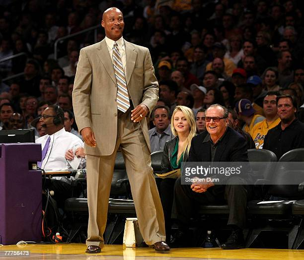 f056dba69 Head coach Byron Scott of the New Orleans Hornets laughs with actor Jack  Nicholson during the