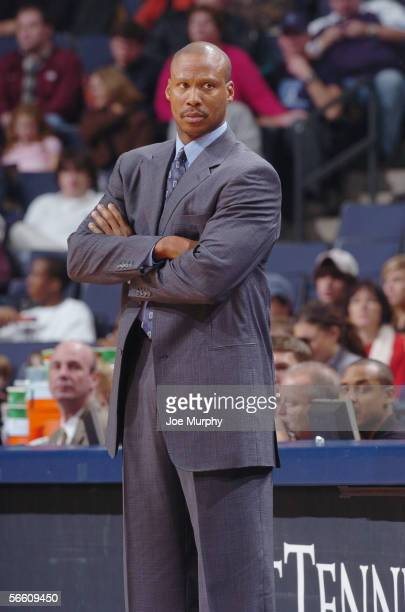 Head coach Byron Scott of the New Orleans/Oklahoma City Hornets looks on against the Memphis Grizzlies during a game on December 6 2005 at FedexForum...