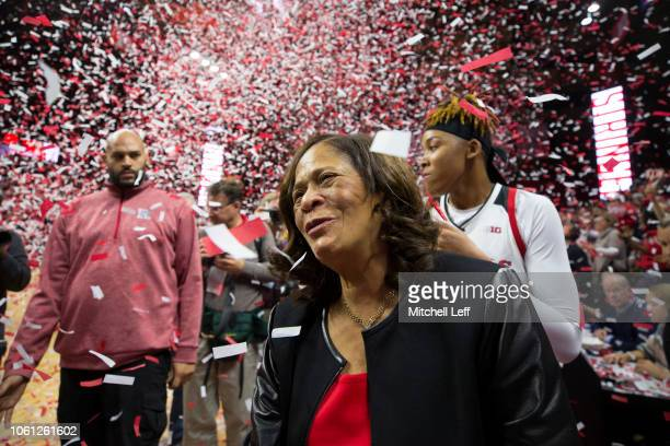 Head coach C. Vivian Stringer of the Rutgers Scarlet Knights celebrates her 1,000 career win after defeating the Central Connecticut State Blue...