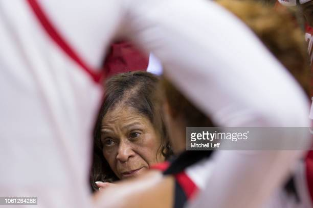 Head coach C Vivian Stringer of the Rutgers Scarlet Knights talks to her team in the huddle during a timeout against the Central Connecticut State...