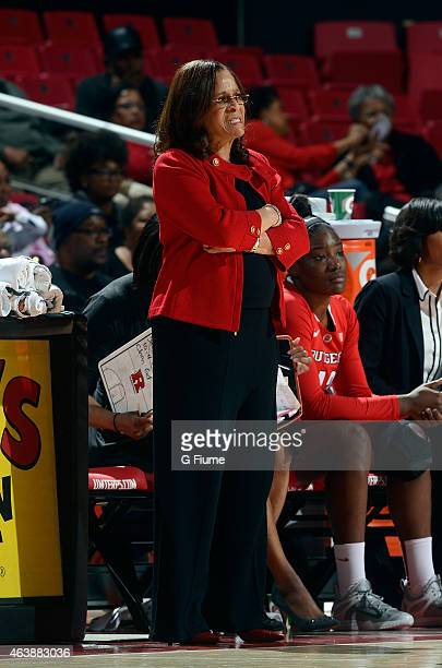 Head coach C Vivian Stringer of the Rutgers Scarlet Knights watches the game against the Maryland Terrapins at the Xfinity Center on February 10 2015...