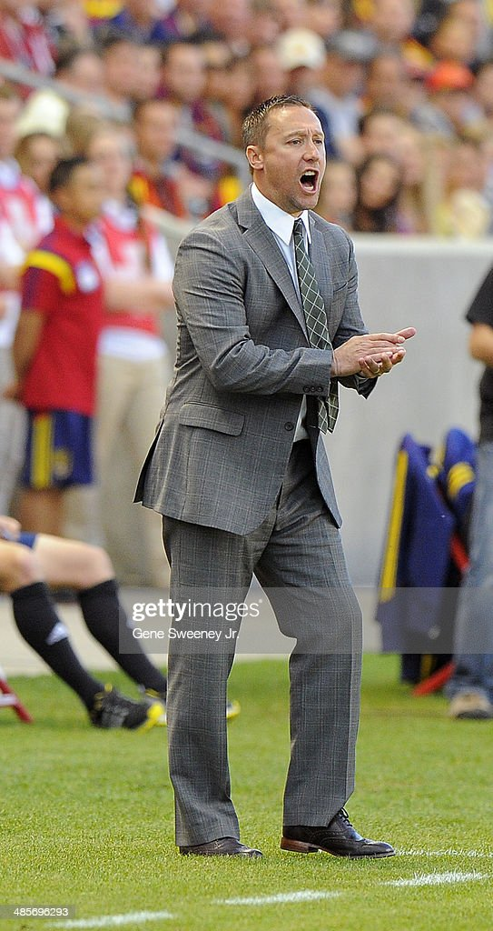 Head coach Caleb Porter of the Portland Timbers encourages his team in the first half against the Real Salt Lake at Rio Tinto Stadium April 19, 2014 in Sandy, Utah.