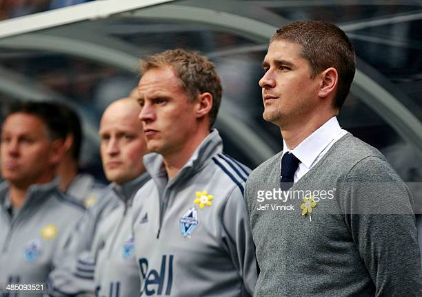 Head coach Carl Robinson of the Vancouver Whitecaps FC during their MLS game against the Colorado Rapids April 5 2014 in Vancouver British Columbia...