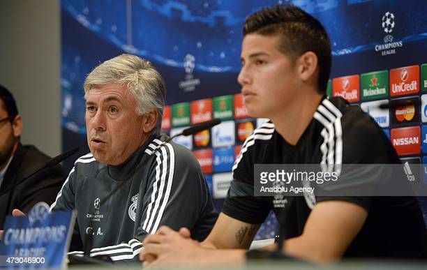 Head coach Carlo Ancelotti and Attacking midfielder James Rodriguez of Real Madrid holds a press conference after the team training session ahead of...