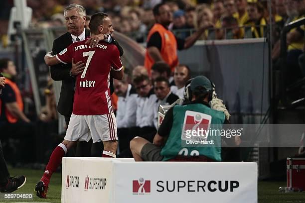 Head coach Carlo Ancelotti and Franck Ribery of Munich during DFL Supercup 2016 match between Borussia Dortmund and FC Bayern Muenchen at Signal...