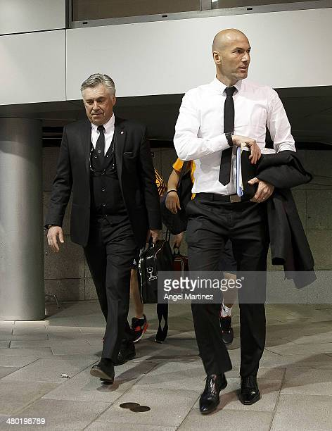 Head coach Carlo Ancelotti and his assistant Zinedine Zidane of Real Madrid arrive to the stadium before the La Liga match between Real Madrid and FC...