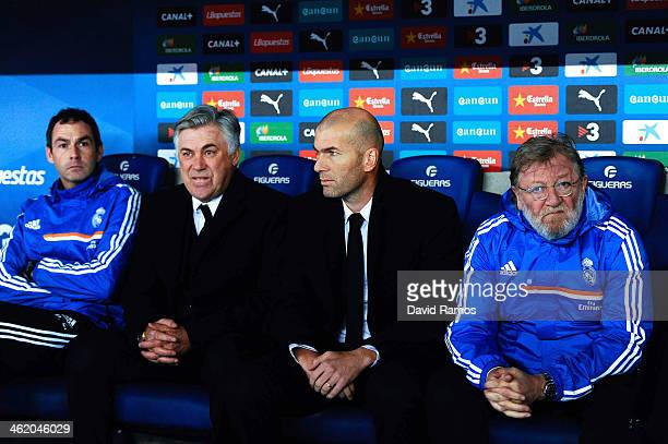 Head Coach Carlo Ancelotti and his assitant Zinedine Zidane of Real Madrid CF look on during the La Liga match between RCD Espanyol and Real Madrid...