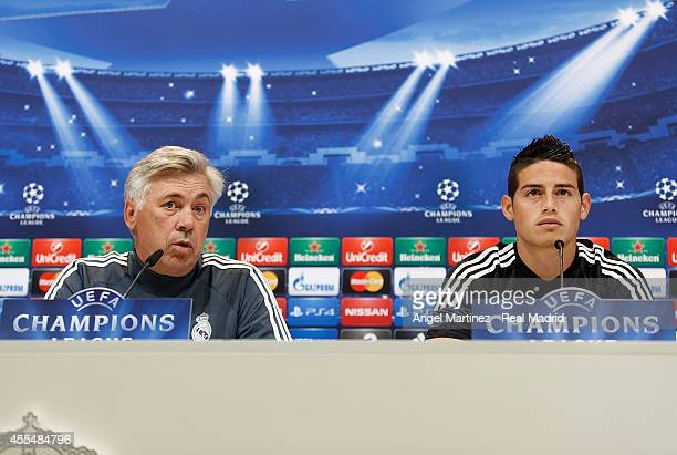 Head coach Carlo Ancelotti and James Rodriguez of Real Madrid attend a press conference ahead of their UEFA Champions League Group B match against...