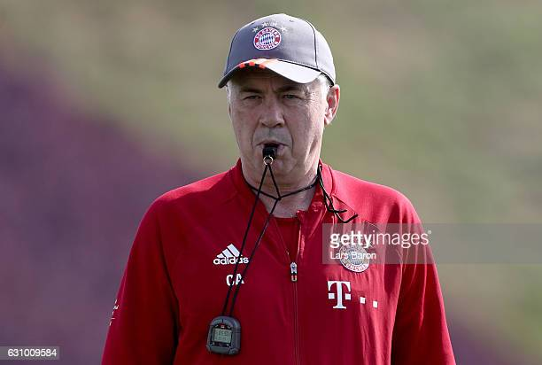 Head coach Carlo Ancelotti is seen during a training session at day 3 of the Bayern Muenchen training camp at Aspire Academy on January 5 2017 in...