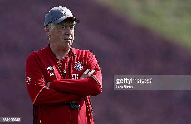 Head coach Carlo Ancelotti is seen during a training session at day 3 of the Bayern Muenchen training camp at Aspire Academy on January 5, 2017 in...