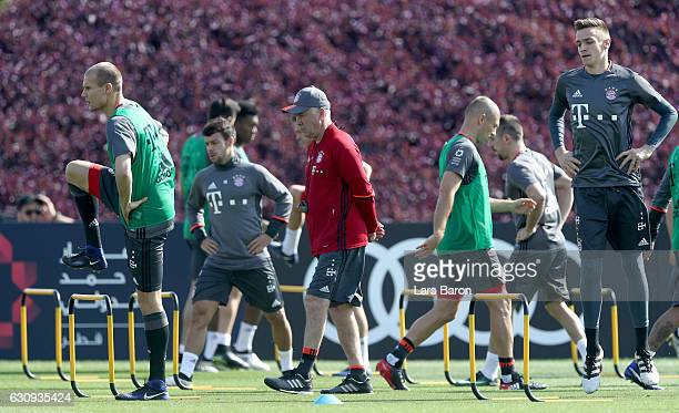 Head coach Carlo Ancelotti looks on during a training session at day 2 of the Bayern Muenchen training camp at Aspire Academy on January 4 2017 in...