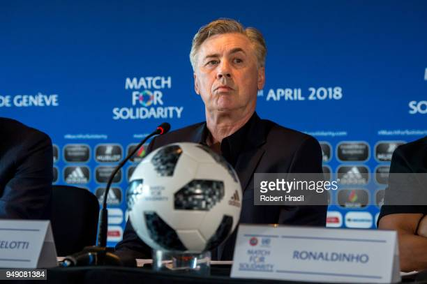 Head Coach Carlo Ancelotti looks on during the Press Conference of Match for Solidarity on April 20 2018 at Grand Hotel Kempinski in Geneva...