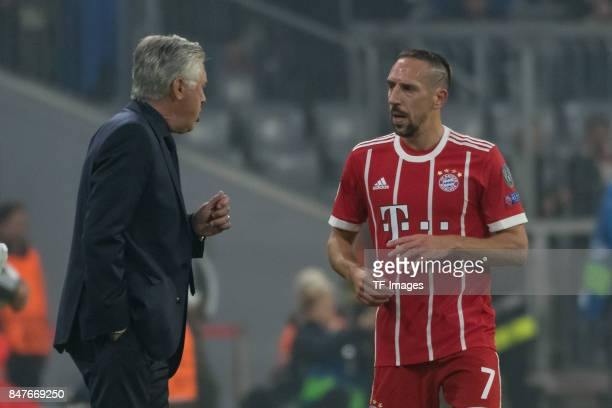 Head coach Carlo Ancelotti of Bayern Muenchen speak with Franck Ribery of Bayern Muenchen during the UEFA Champions League group B match between...