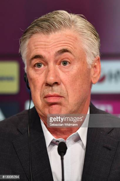 Head coach Carlo Ancelotti of FC Bayern Muenchen attends a press conference at Allianz Arena on July 12 2017 in Munich Germany