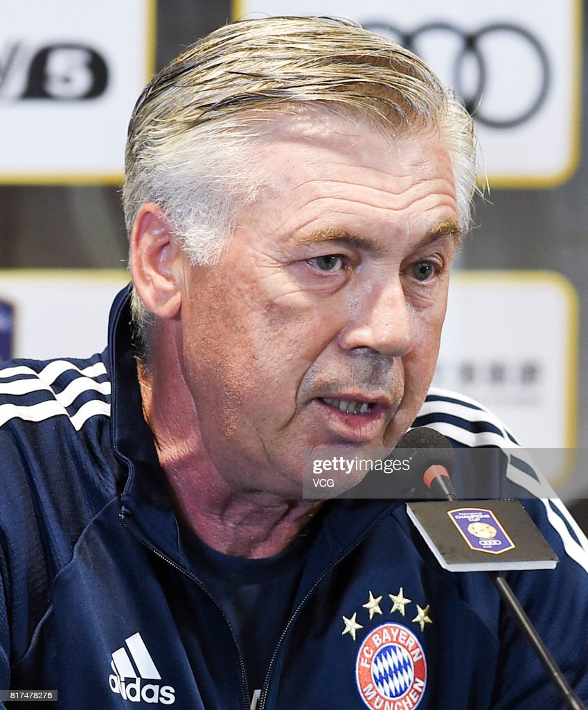 Head coach Carlo Ancelotti of FC Bayern Muenchen attends a press conference at Shanghai Stadium ahead of 2017 International Champions Cup China on July 18, 2017 in Shanghai, China.