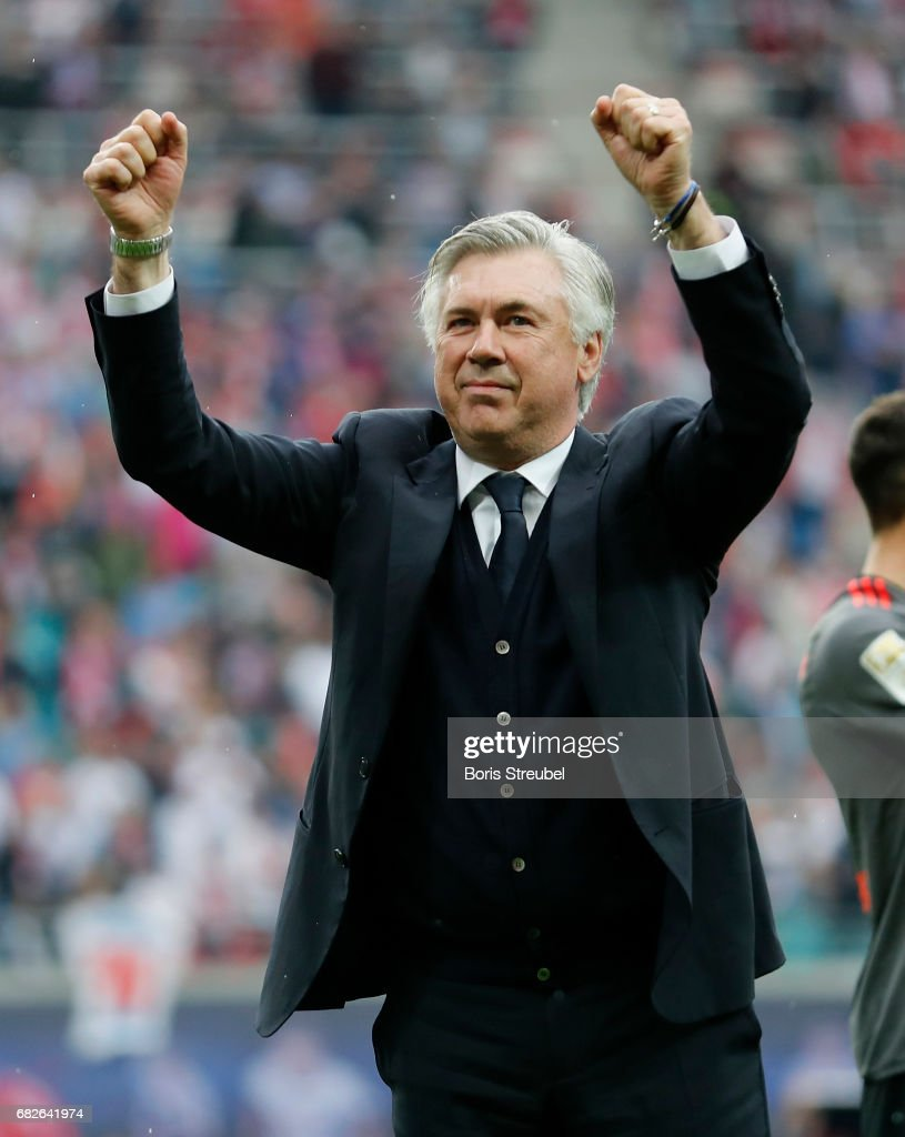 Head coach Carlo Ancelotti of FC Bayern Muenchen celebrates after winning the Bundesliga match between RB Leipzig and Bayern Muenchen at Red Bull Arena on May 13, 2017 in Leipzig, Germany.