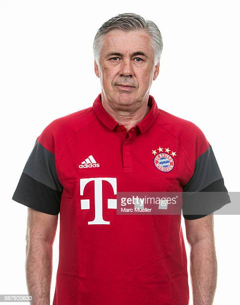 Head Coach Carlo Ancelotti of FC Bayern Munich pose during the team presentation on August 10 2016 in Munich Germany