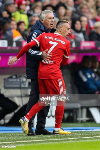 Head coach Carlo Ancelotti of Muenchen and Franck Ribery of Muenchen looks on during the Bundesliga match between FC Bayern Muenchen and 1 FSV Mainz...