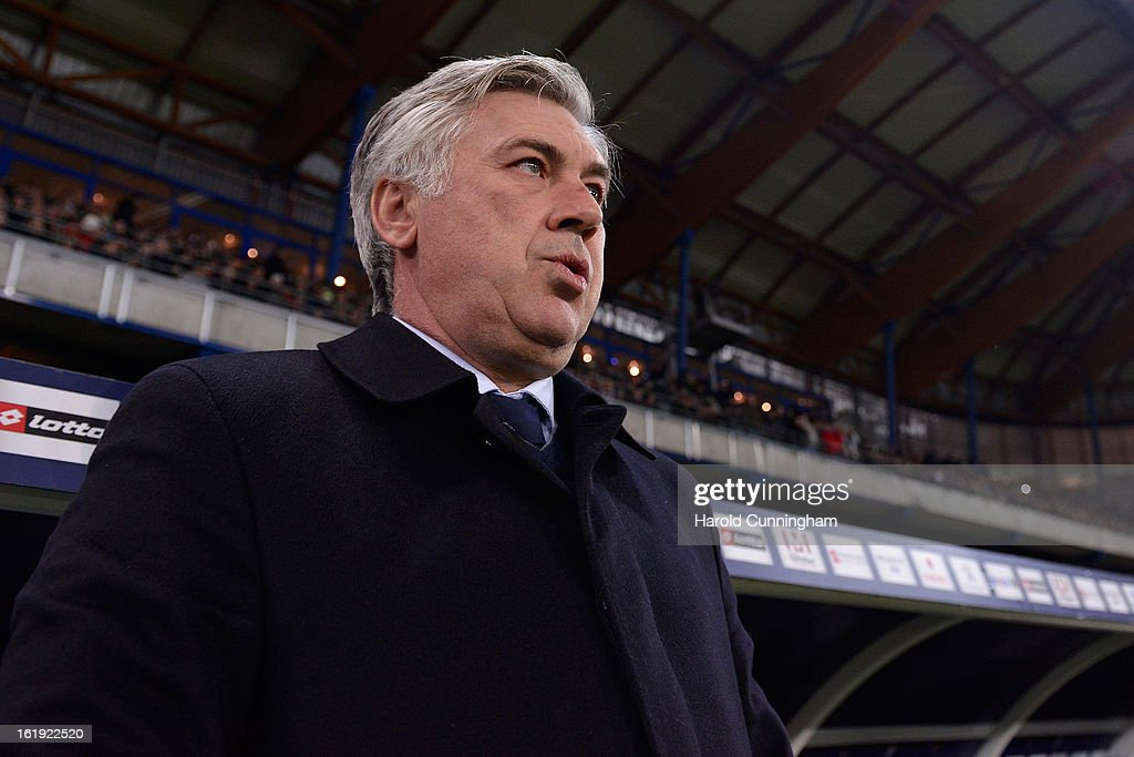 Head coach Carlo Ancelotti of Paris Saint-Germain FC looks on prior to the French League 1 football match between FC Sochaux-Montbeliard and Paris Saint-Germain FC at Stade Auguste Bonal on February 17, 2013 in Montbeliard, France.