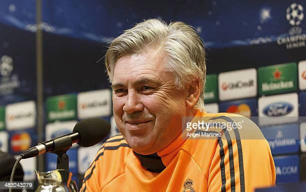 Head coach Carlo Ancelotti of Real Madrid attends a press conference ahead of their UEFA Champions League Quarter Final second leg match against...