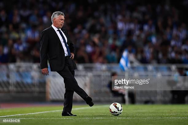 Head Coach Carlo Ancelotti of Real Madrid CF kicks the ball during the La Liga match between Real Sociedad de Futbol and Real Madrid CF at Estadio...