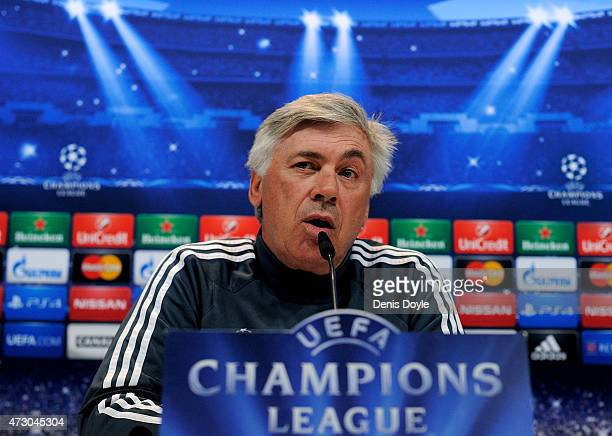 Head coach Carlo Ancelotti of Real Madrid holds a press conference after the team training session ahead of the UEFA Champions League Semi Final...