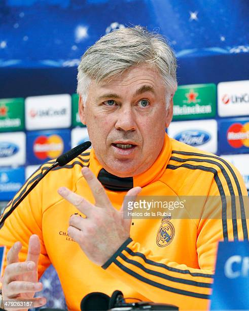 Head coach Carlo Ancelotti of Real Madrid looks on during a press conference ahead of their UEFA Champions League round of 16 second leg match...