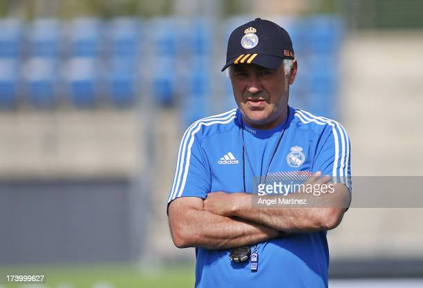 Head coach Carlo Ancelotti of Real Madrid looks on during a training session at Valdebebas training ground on July 19, 2013 in Madrid, Spain.
