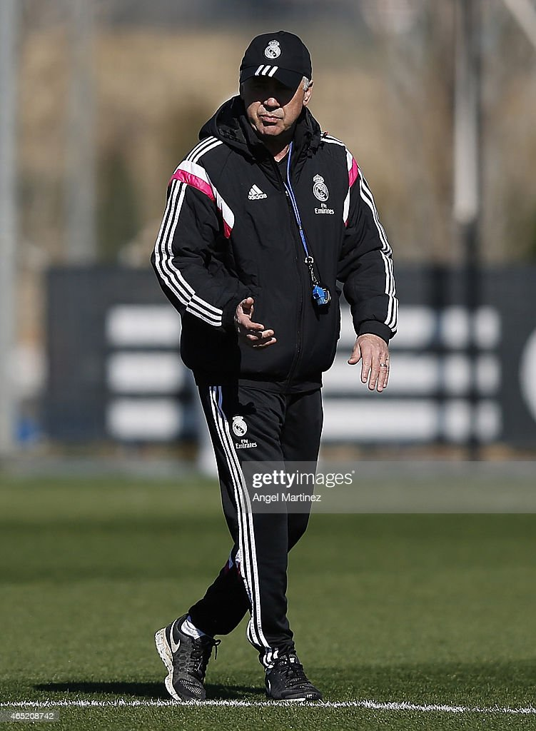 Head coach Carlo Ancelotti of Real Madrid looks on during a training session at Valdebebas training ground on March 4, 2015 in Madrid, Spain.