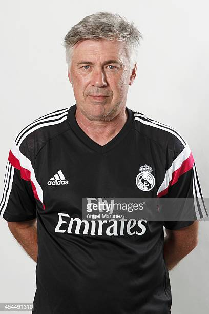 Head coach Carlo Ancelotti of Real Madrid poses during a portrait session at Valdebebas training ground on September 1 2014 in Madrid Spain