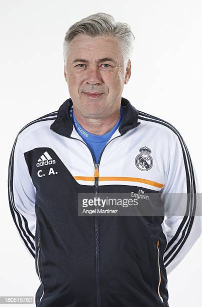 Head coach Carlo Ancelotti of Real Madrid poses during the official team photo session at Valdebebas training ground on September 13 2013 in Madrid...
