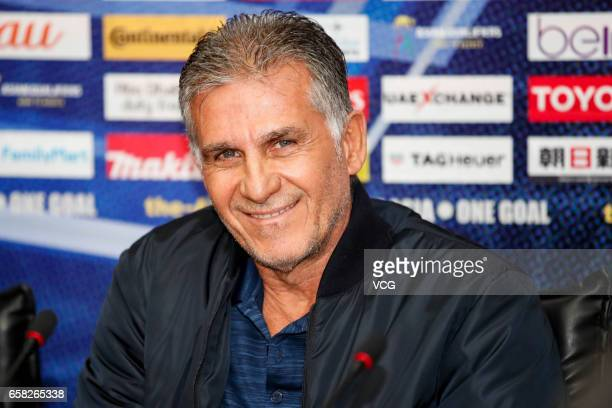 Head coach Carlos Queiroz of Iran attends a press conference ahead of the 2018 FIFA World Cup Qualifying group match between Iran and China on March...