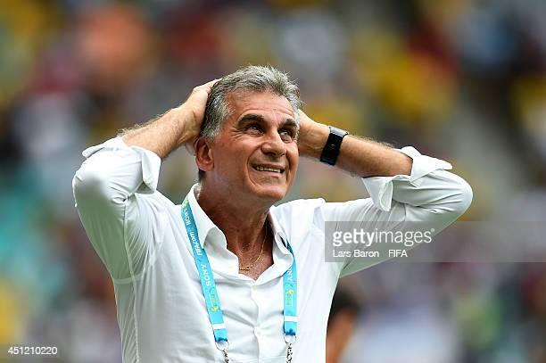 Head coach Carlos Queiroz of Iran gestures during the 2014 FIFA World Cup Brazil Group F match between BosniaHerzegovina and Iran at Arena Fonte Nova...