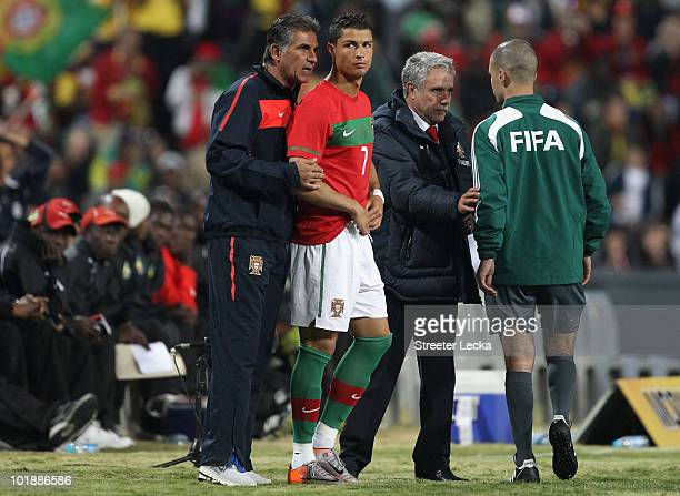 Head coach Carlos Queiroz of Portugal puts Cristiano Ronaldo into the game against Mozambique during their game at Wanderers Stadium on June 8 2010...