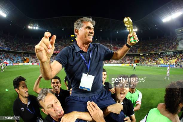 Head Coach Carlos Quieroz of Iran celebrates qualifying for the 2014 FIFA World Cup following the FIFA 2014 World Cup Qualifier match between South...