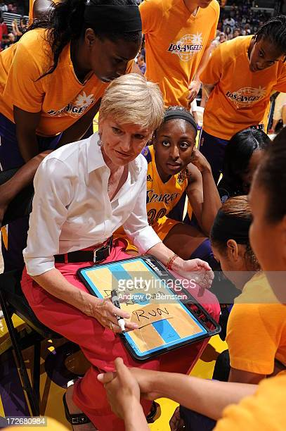 Head Coach Carol Ross of the Los Angeles Sparks gives direction to her team during a game against the New York Liberty at Staples Center on July 4...
