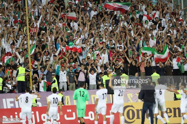 Head coach Carols Quieroz and players of Iran celebrates after the match during FIFA 2018 World Cup Qualifier match between Iran and Uzbekistan at...