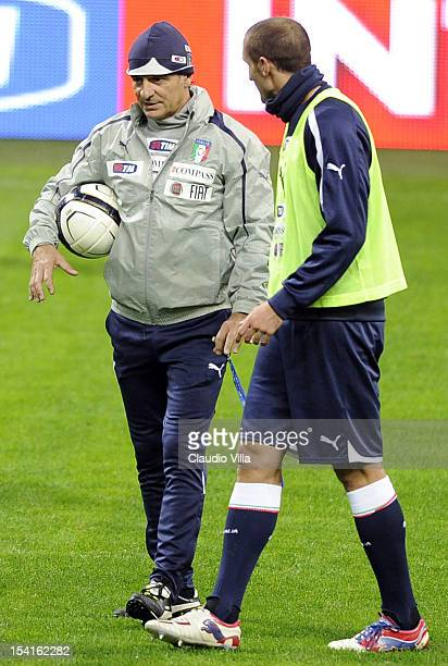 Head coach Cesare Prandelli and Giorgio Chiellini of Italy attend a training session ahead of their FIFA World Cup Brazil 2014 qualifier against...