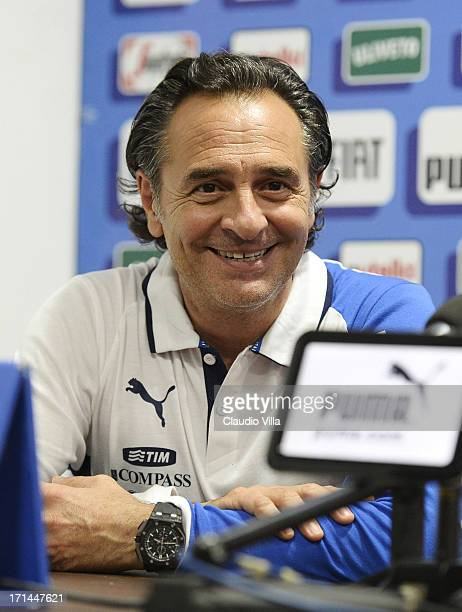 Head coach Cesare Prandelli attends a press conference ahead of their FIFA Confederations Cup match against Spain at Estadio Presidente Vargas on...