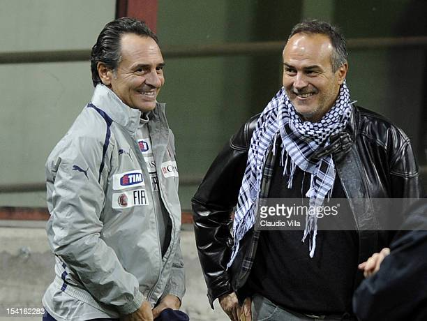 Head coach Cesare Prandelli of Italy and Antonio Cabrini attend a training session ahead of their FIFA World Cup Brazil 2014 qualifier against...